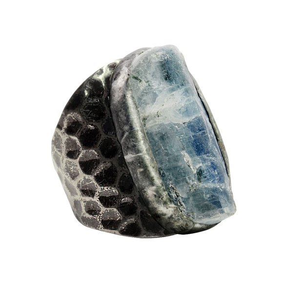 Lakeview Apparel Jewelry - 2/$50Black Metal and Rough Agate Rock Adjust. Ring